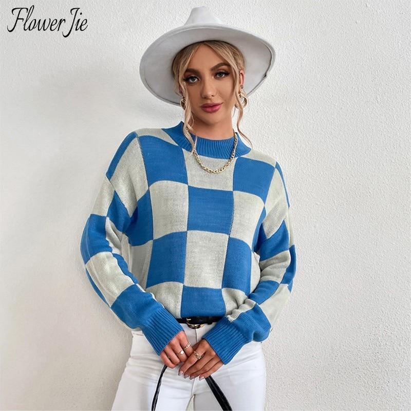 꽃 Jie 가을 니트 스웨터 여성 캐주얼 풀오버 긴 소매 당겨 여성 탑스 격자 무늬 패턴 터틀넥 스웨터 Femme