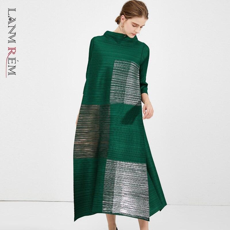 LANMREM المرأة بيلاتيد الملابس 2021 الوقوف طوق كتلة اللون طباعة فضفاضة تمتد فستان من القماش famale جديد YJ643