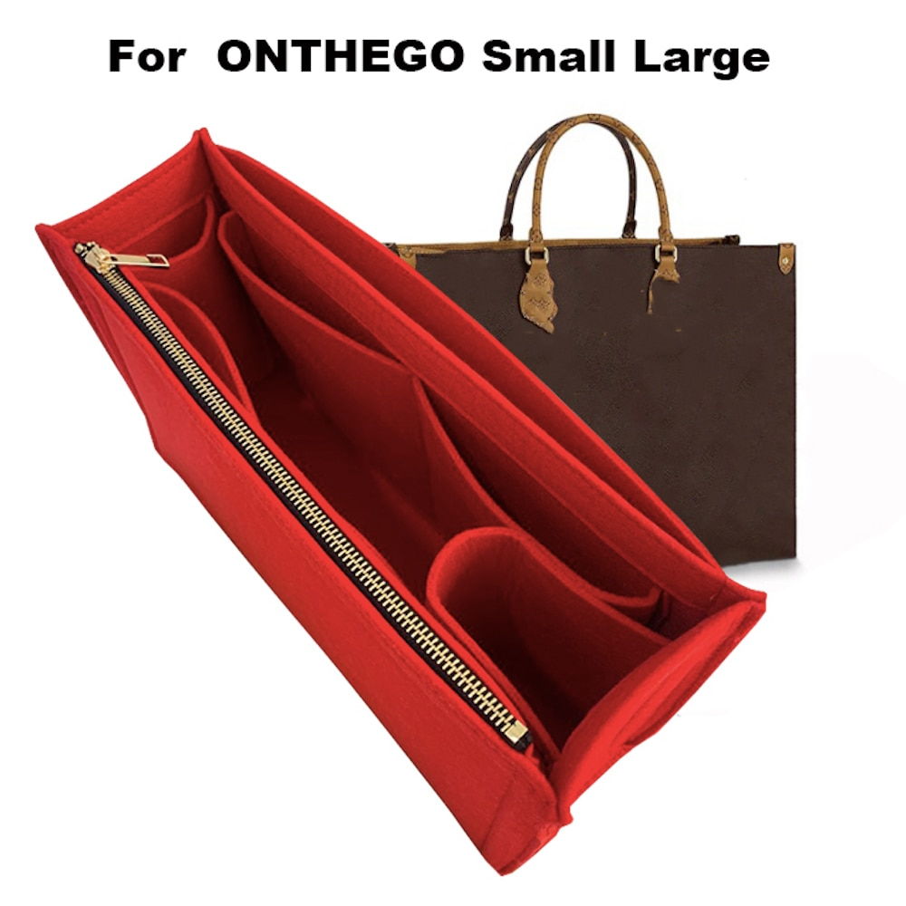 For Onthego MM GM Felt Cloth Insert Bag Organizer Makeup Handbag shaper on the go Organizer Portable