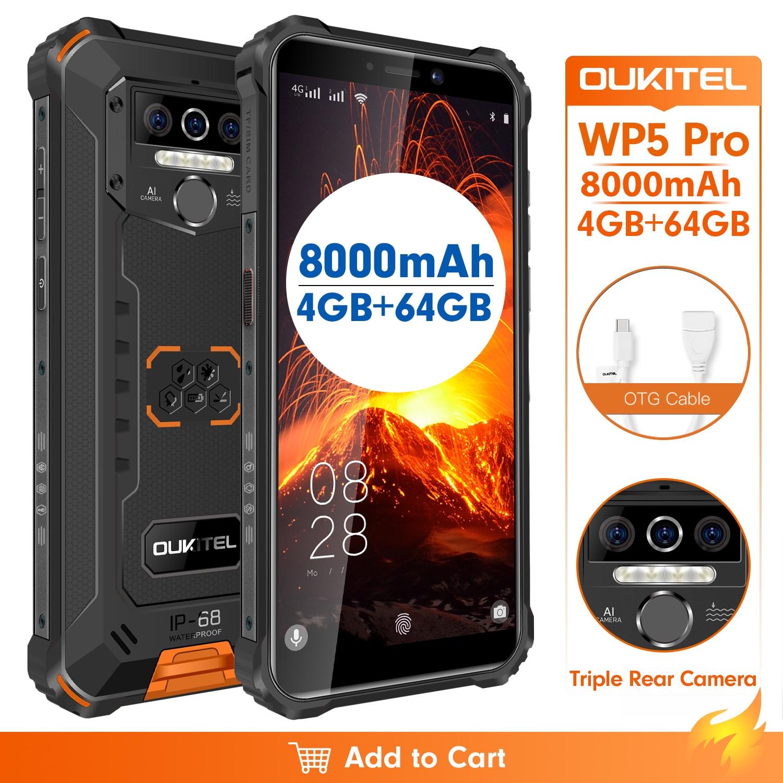 IP68 للماء OUKITEL WP5 برو 4GB 64GB الهاتف الذكي 8000mAh الروبوت 10 الثلاثي كاميرا 5.5