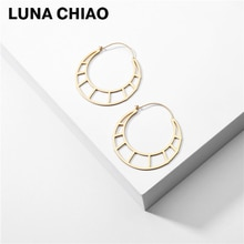 Pendientes de aro de cobre geométricos ahuecados De LUNA CHIAO, pendientes de estilo bohemio hipérbole Chic para mujer