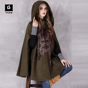 Free Shipping 2021 New Vintage Wool Sleeveless Coat Spring And Autumn Outerwear Hooded Appliques Cloak Loose Tops Embroidery