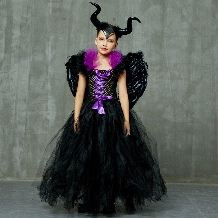 Maleficent Black Angel TUTU Dress Fancy Girls Halloween Costume Dress Nina Vestidos Disfraz Fairy Clothing Baby Carnival Robe