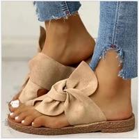 2020 women sandals shoes summer flat sandals bow knot comfort retro anti slip beach shoes platform slide womens slippers nvlx54