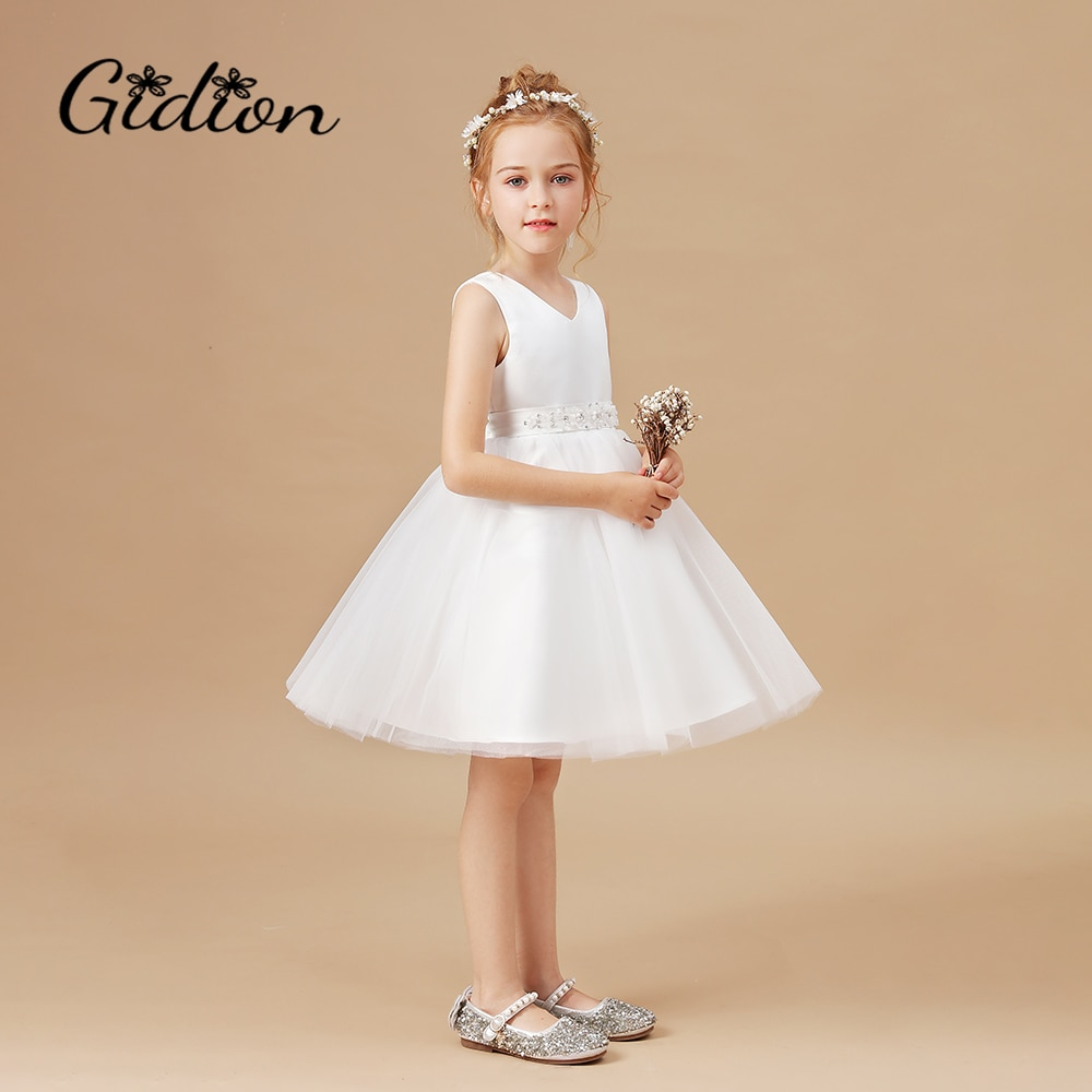 2020 Formal Flower Dress Kids Clothes For Girls Children Retro Lace Princess Dress Girl Party Wedding Dress Elegant Party Dress children flower girls dress princess kids dress with bow summer flower girls wedding party clothes kids prom gowns with necklace