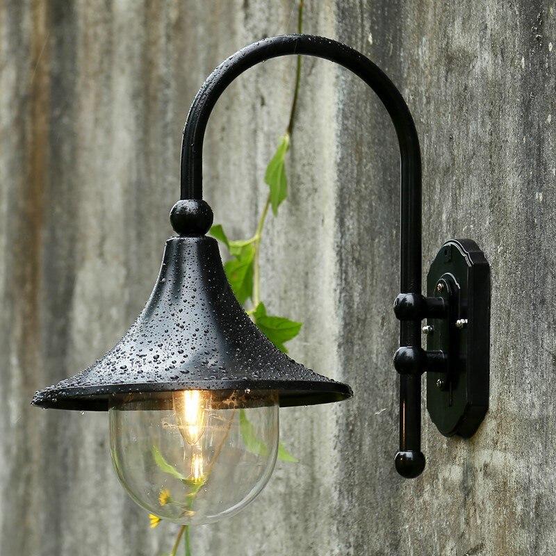 Retro luz de parede ao ar livre europa villa arandela lâmpada e27 à prova dwaterproof água exterior jardim porta luz bronze preto lâmpada varanda do vintage