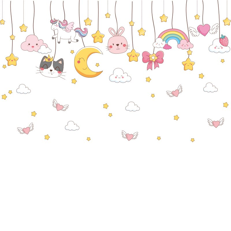 Cartoon Stars Coulds Wall Stickers DIY Girl on the Swing Mural Decals for Kids Rooms Baby Bedroom Home Decoration Accessories