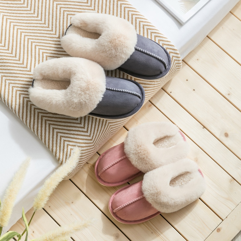 Plush Household Indoor Slippers Women's Winter Warm Cotton Slippers Light Soft Comfortable Winter Couple Slide Plush Shoes Women 2019 winter women home slippers family couple warm plush slippers indoor household woman shoes bedroom unisex comfortable soft