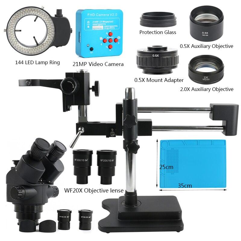 3.5X 7X 45X 90X 180X مزدوجة بوم حامل سيمول التركيز ثلاثي العينيات مجهر ستيريو + 38MP كاميرا المجهر لإصلاح ثنائي الفينيل متعدد الكلور الصناعية