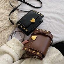 Female Rivet Solid Leather Crossbody Bags For Women 2020 Luxury Handbags Designer Sac A Main Ladies Hand Shoulder Messenger Bag
