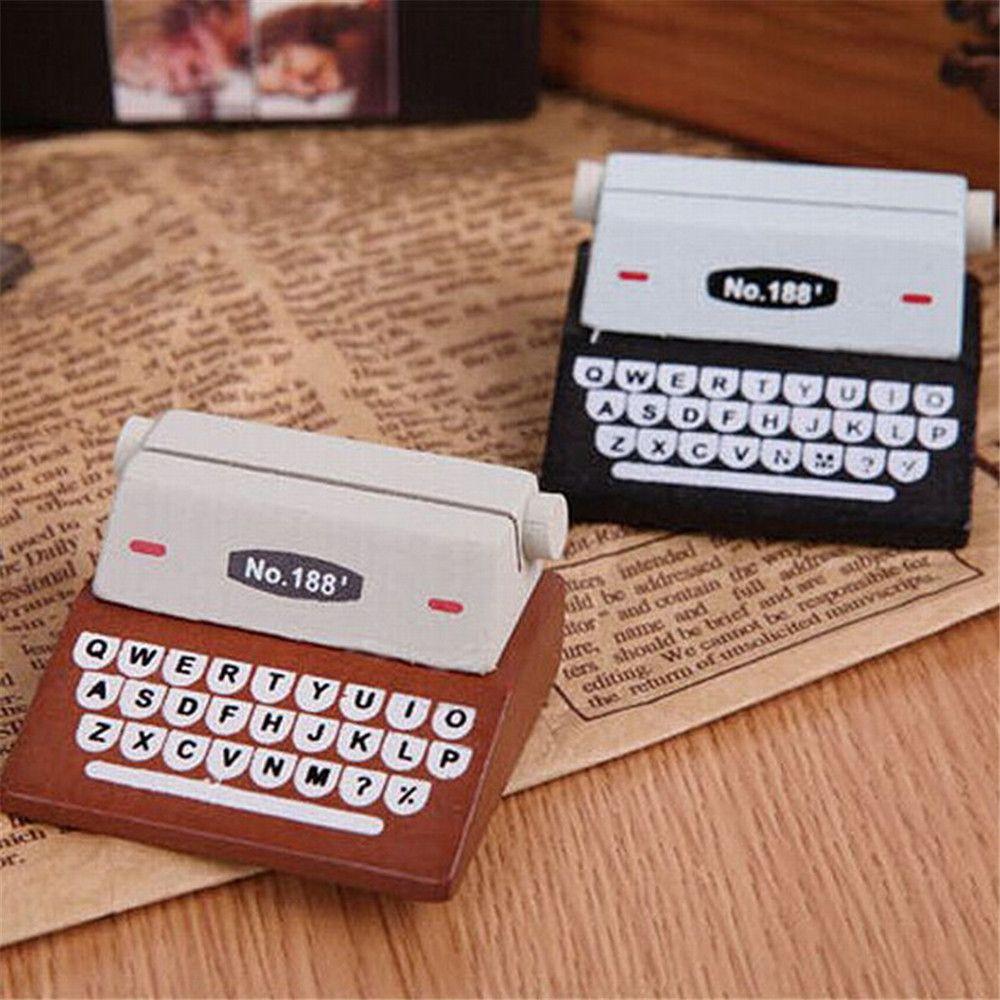 Creativa máquina de escribir de madera foto tarjeta de escritorio Messege Memo nota titular de la tarjeta titular de la Mesa de decoración artículos de papelería Kawaii
