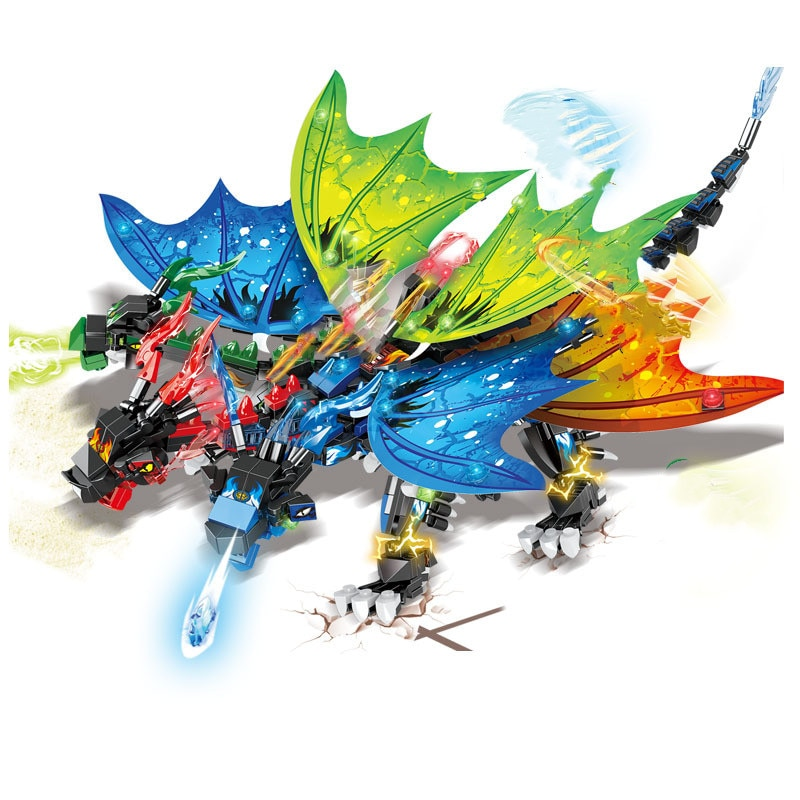 1146 шт. Новые Фигурки 4 в 1: дракон, рыцарь, ниндзя, строительные блоки, фигурки «сделай сам», модель, кирпичи, строительные игрушки для детей, по...