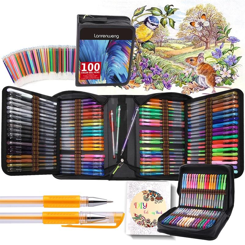 Juego de bolígrafo de Gel de colores 12-120, bolígrafo de tinta de Gel tipo bala para libros de colorear adultos, bolígrafo tipo bala, marcadores de dibujo