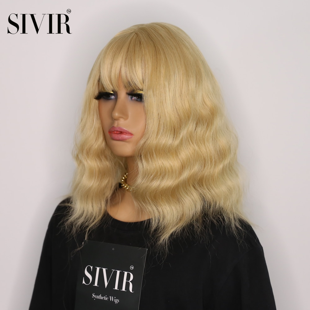 AliExpress - Sivir  Red Blonde Color Synthetic Wigs Middle Length  Wave Hair Wigs with Bangs wigs for White Black Women Heat Resistant Fiber