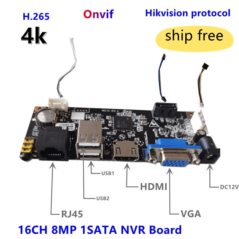 16CH NVR مجلس 4K 8MP لكاميرا IP 1SATA ONVIF HIK الرؤية الخاصة بروتكال ماكس 10 تيرا بايت HDD/App موبايل من Uniview التكنولوجيا