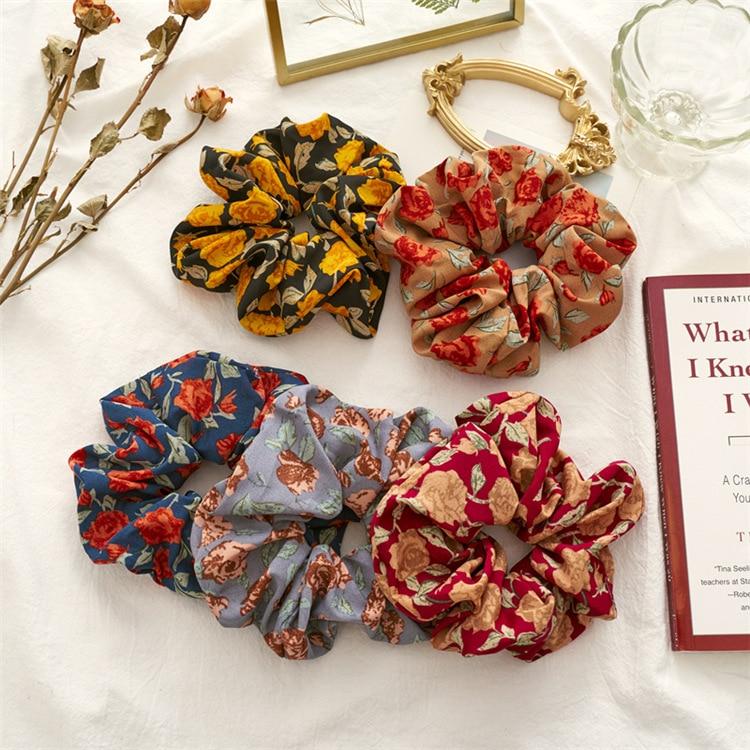 Brand Designers Roes Scranchis Vintage Gypsy Style Scrunchies Set 5pcs Sale Women Chiffon Boho Hair Elastic Bands