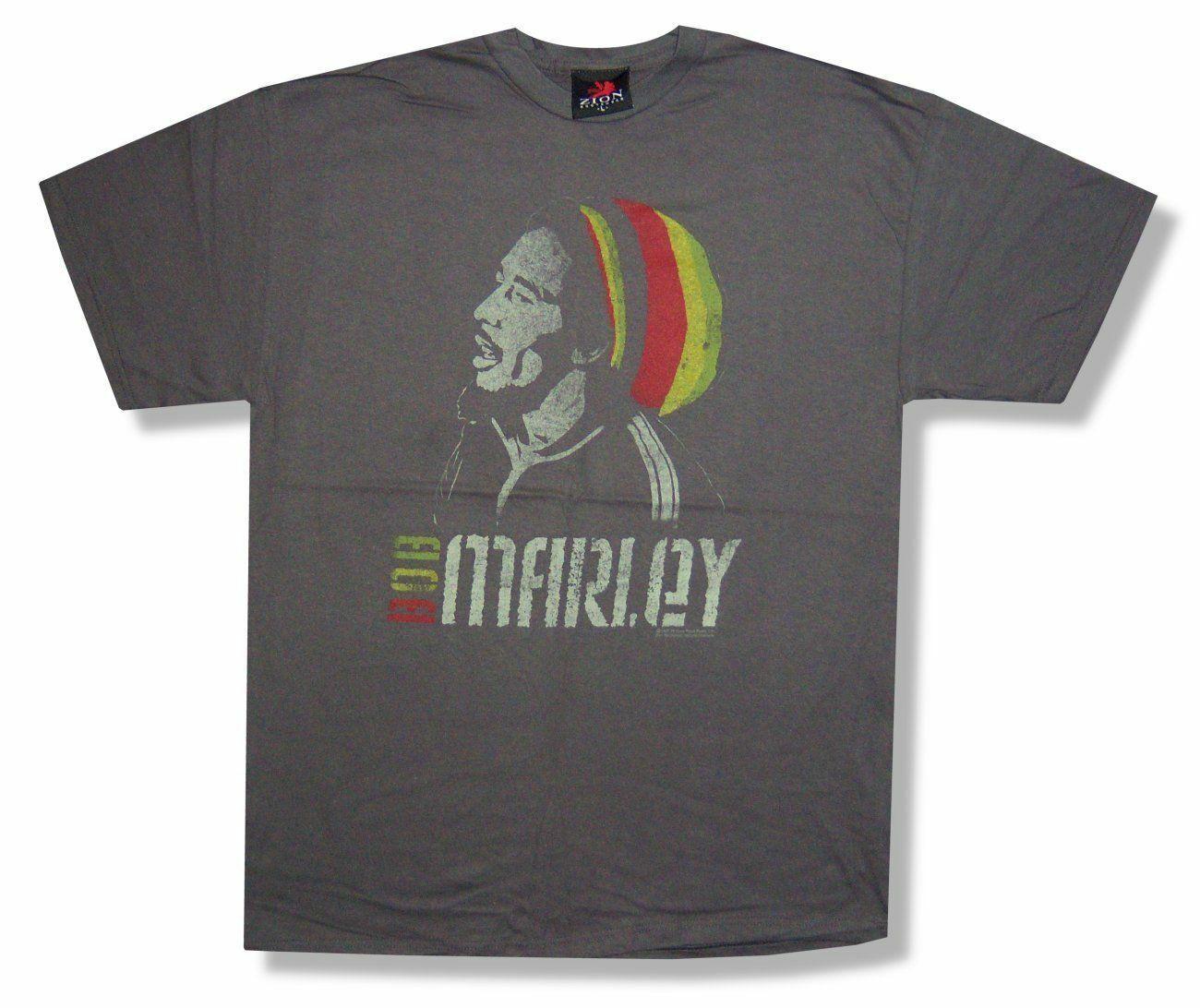 Bob Marley Striped Beanie Mens Heather Brown T Shirt New Official Reggae Music
