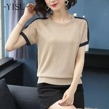 YISU Fashion Knitted T-shirt tops Women Stripe Short sleeve O neck Ice silk Tshirt summer Breathable cool pullover T shirt Women