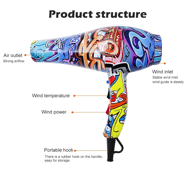 Hair Dryer 200-220V Graffiti Chinese Style Strong Power for Hairdressing Barber Salon Tools Blow Low enlarge