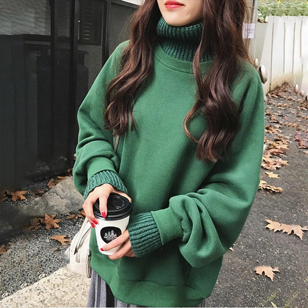 Sudadera con capucha Harajuku de moda, sudadera holgada de color liso con cuello de tortuga, Sudadera con capucha de manga larga para mujer, Jersey femenino de otoño, ropa de calle