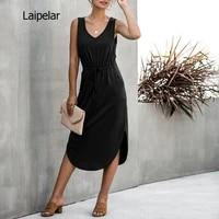 sexy v neck sleeveless midi asymetrical dress summer drawstring high waist loose solid sundress shirt long dress 2020