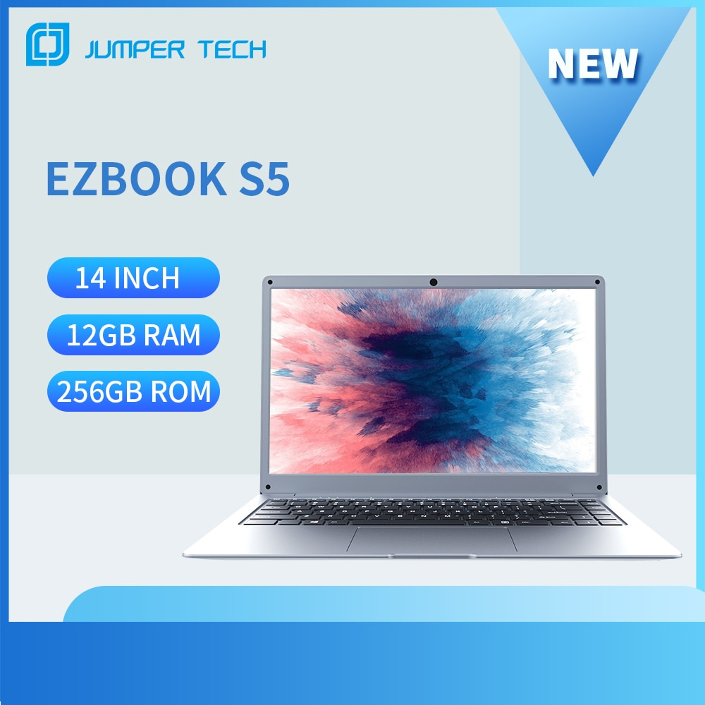New Jumper EZbook S5 12GB 256GB  Intel Celeron Ultra Slim Notebook Dual Core Win 10 Laptop 14 Inch 1920*1080 IPS Screen Computer