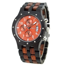 BEWELL Luxury Brand Men's Wood Quartz Wrist Watch Men Sport Waterproof Watch Man Chronograph Clock R