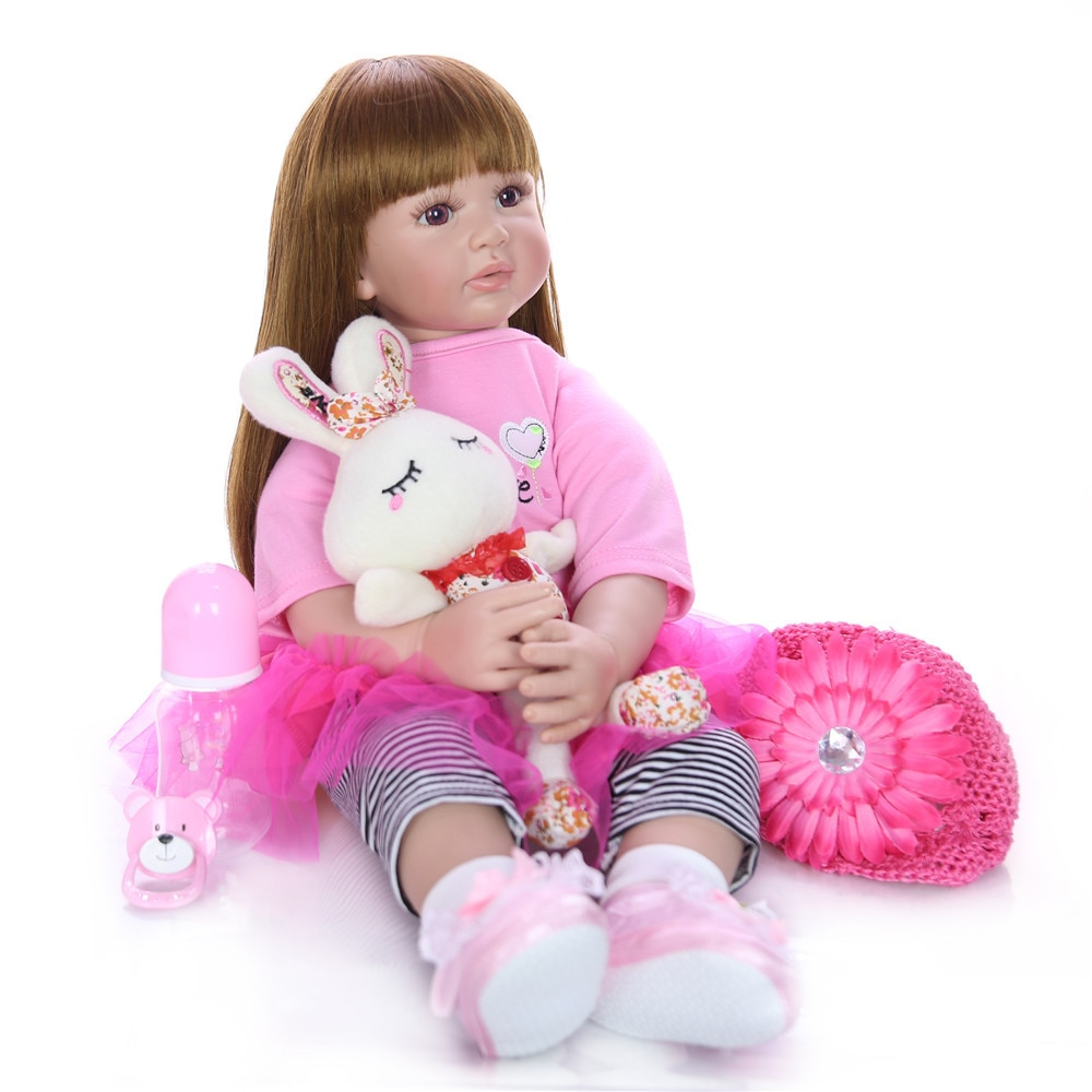 "Sudoll Reborn Baby Doll 24"" Girl Handmade Lifelike Newborn Soft Silicone Vinyl 60cm Top quality Gift Toys Long Hair Cloth Body"