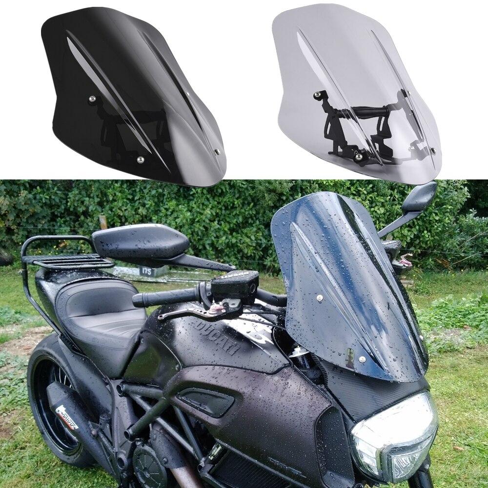 Para 2014-2018 ducati diavel windscreen windshield capa defletor de vento com suporte de montagem 2015 2016 2017 peças da motocicleta novo