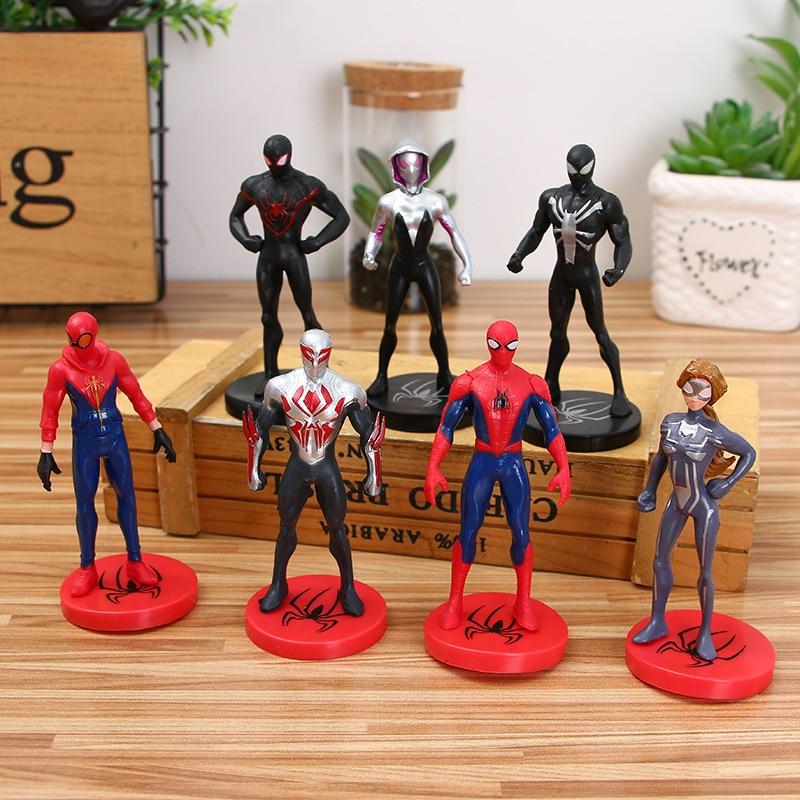 7 unids/set figuras de juguete de acción spiderman noir figura de spiderman negro boneco vingadores Iron Man juguete de spiderman Modo de decoración de pasteles