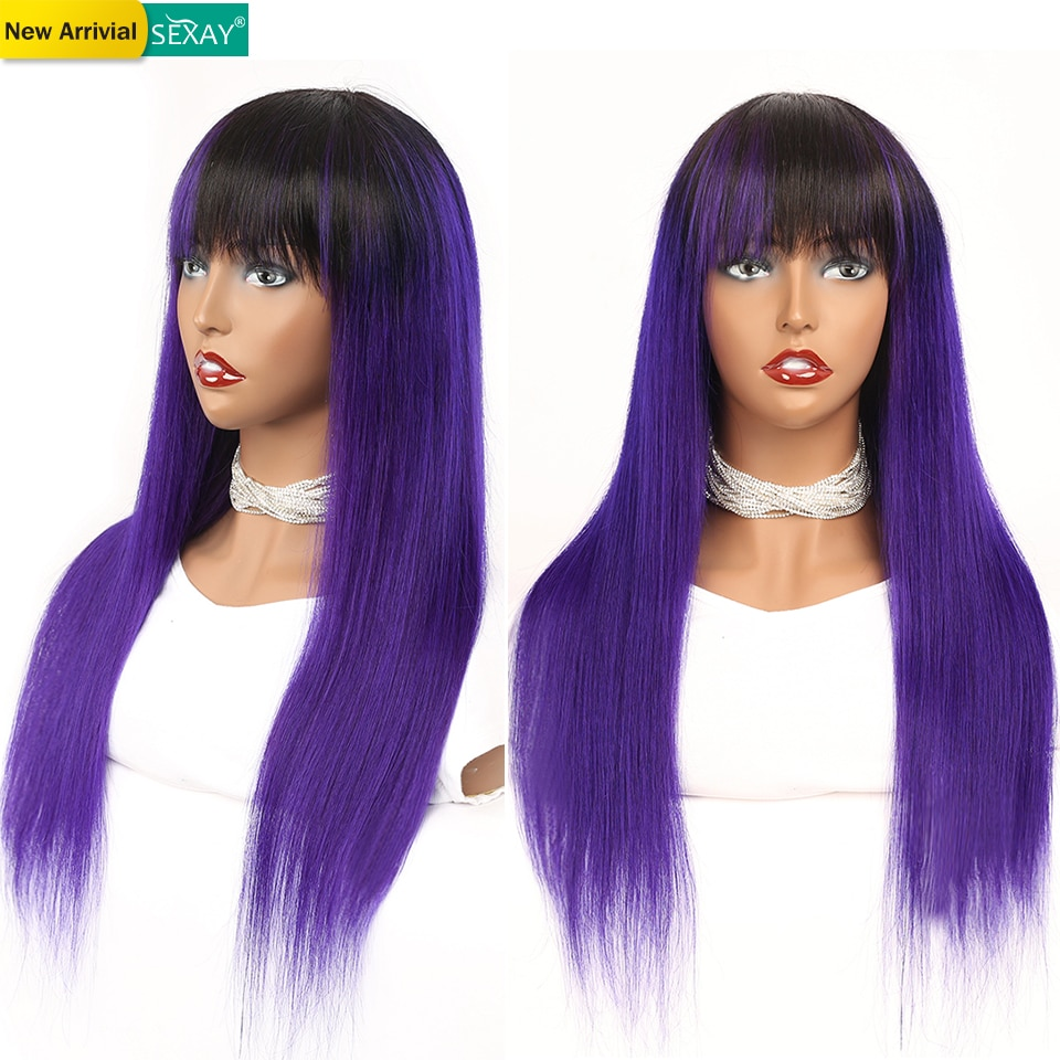 Pelucas de cabello humano totalmente hechas a máquina moradas Sexay con flequillo para mujeres pelo lacio brasileño pelucas con flequillo baratas a la venta Remy