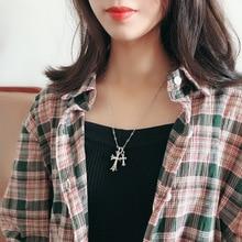 Kpop Retro Goth Double Cross Zircon Pendants Necklace Women Jewelry Gothic Accessories Thorns Chain