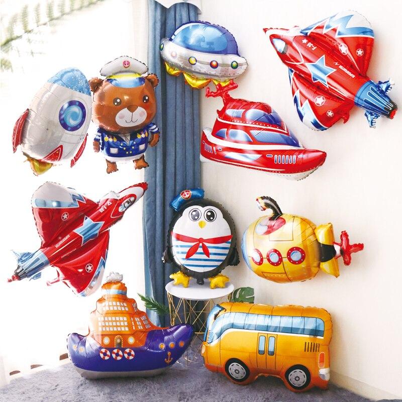 1 Uds. Grandes globos de aluminio de coche avión tren avión helio globo pirata Fighter submarino barco para niño cumpleaños fiesta decoraciones