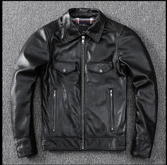 Free shipping,WholeSales!Winter warm.Brand arrival genuine leather jacket.mens casual cowhide coat.black slim leather clothes.