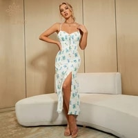 htzmo floral dress women summer casual party vestidos green flower sweetheart neckline ruched lace up long dresses chic 2021