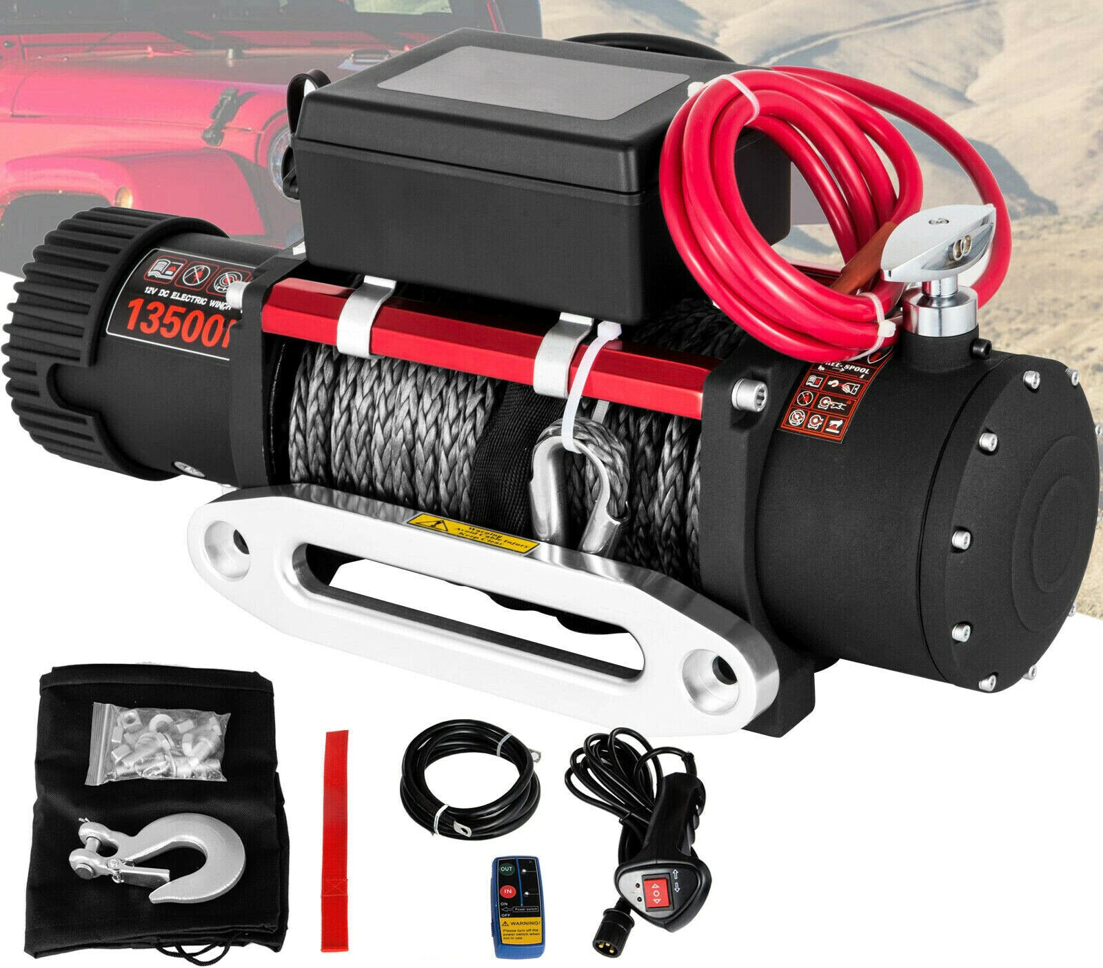 Synthetic Electric Winch 12V 6T Rope Remote Control Traction 6T Trailer 13500lbs