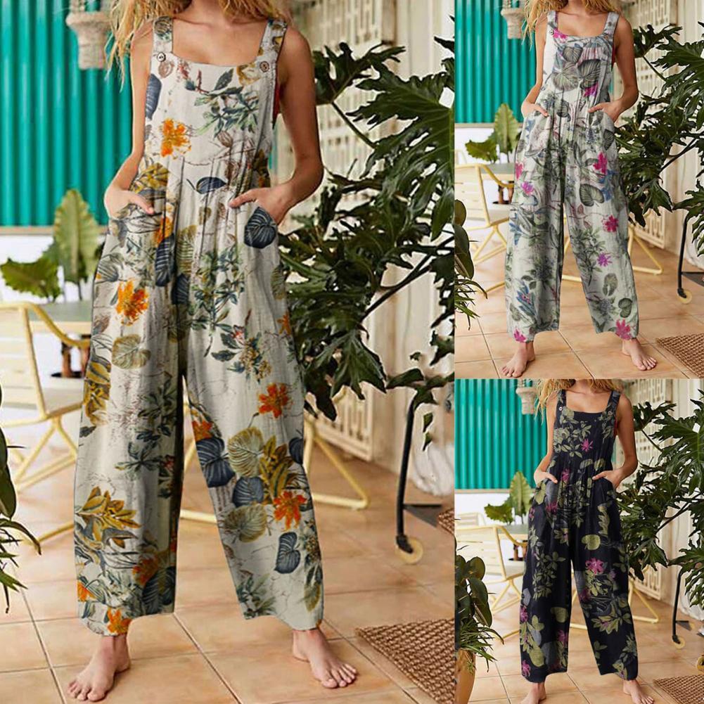 80% Hot Sales!!Suspenders Pants Landscape Floral Print Breathable Women Sleeveless Landscape Floral Print Jumpsuits for Summer