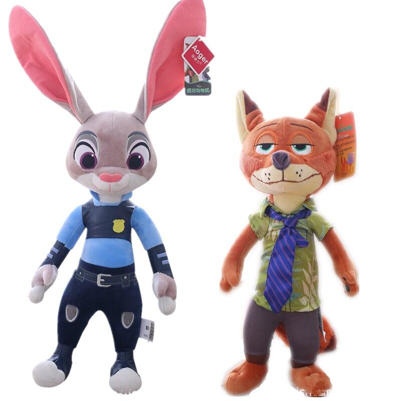 Juguete de peluche de 55CM Disney Pixar Zootopia zootrópolis zorro Nick Rabbit Judy relleno Cosplay Anime figura de acción juguete para niños