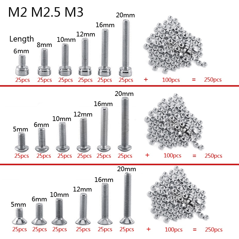 250pc/set A2 Stainless Steel M3 Cap/Button/Flat Head Screws Sets Phillips Hex Socket Bolt With Hex N