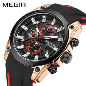 Часы наручные MEGIR мужские спортивные, брендовые Роскошные водонепроницаемые светящиеся в стиле милитари, с силиконовым ремешком, розовые черные, 2020