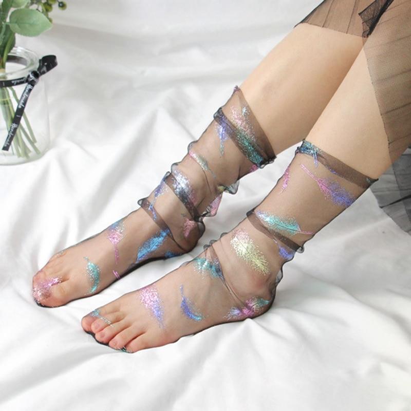 Fashion Ultra-thin Tulle Socks Women Transparent Long Socks Summer Feather Chiffon Funny Socks Femme Streetwear calcetines mujer
