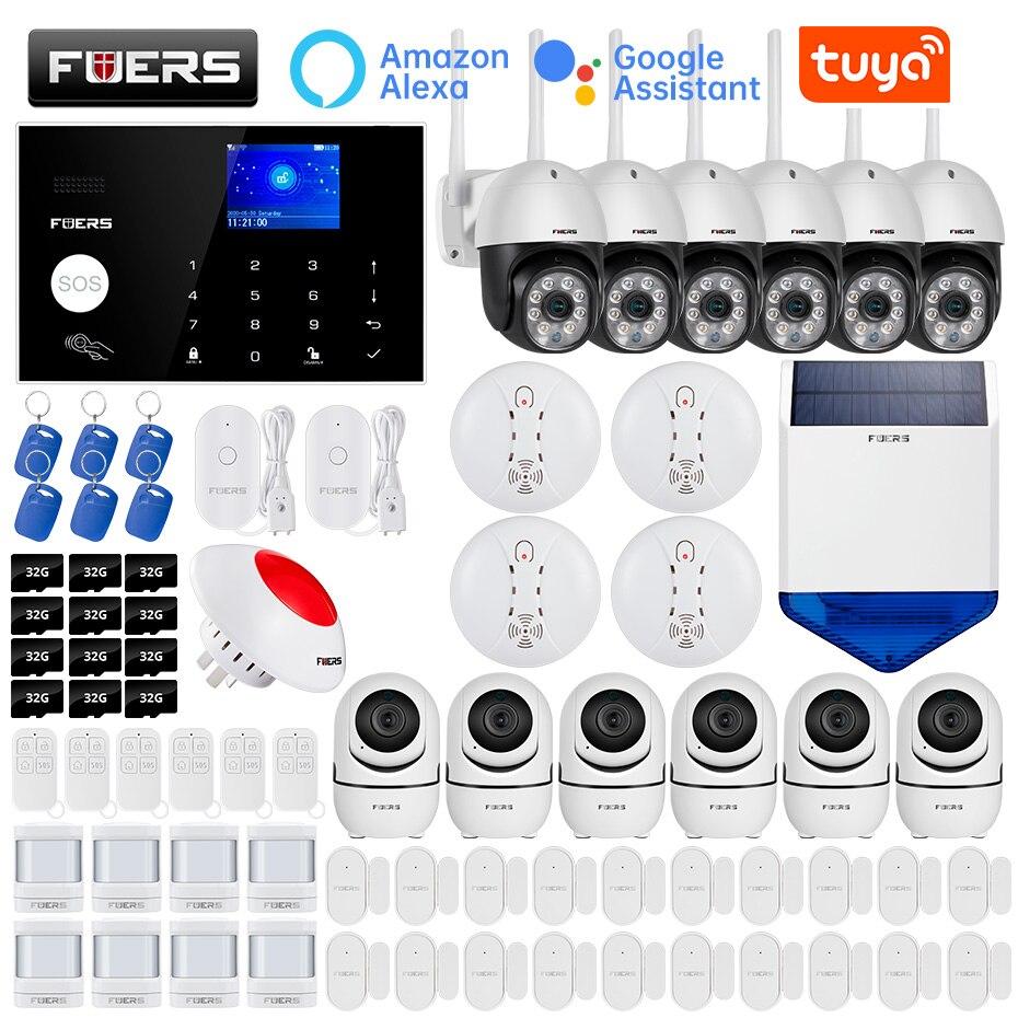 FUERS – système dalarme de sécurité domestique intelligent, wi-fi, 4G, Tuya, sans fil, 1080P, contrôle de caméra, sirène, détecteur de mouvement, détecteur de fumée PIR