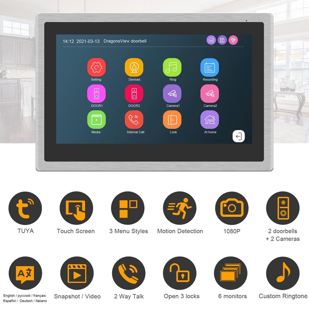 WiFi Video Intercom for Villa Video Doorbell Camera 1080P Keypad Call Panel Fingerprint RFID Password Unlock Home Access Control enlarge