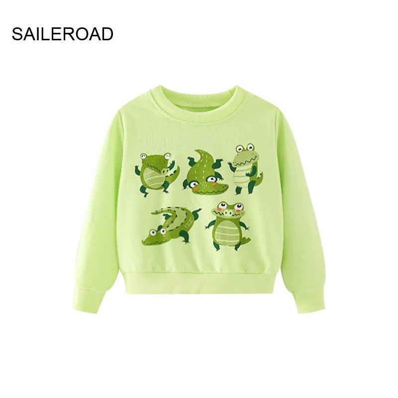 saileroad moletom infantil estampa de crocodilo camiseta de manga comprida para meninos