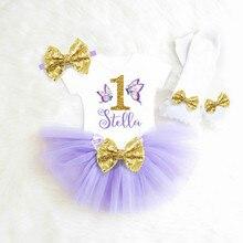 Personaliza cualquier nombre, conjunto de tutú de mariposa púrpura y oro para cumpleaños para niña, conjuntos de tutú de mariposa para fiesta de bienvenida al bebé