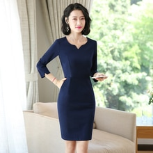 Business Dress Women's Half Sleeve V-neck Jewelry Shop Workwear Slim Fit Spring and Summer Clothing