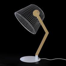 HZFCEW USB Power 3D Wirkung Stereo Vision LED Schreibtisch Lampe Holz Unterstützung Acryl Lampenschirm LED Licht Büro Schlafzimmer Lesen Lampe