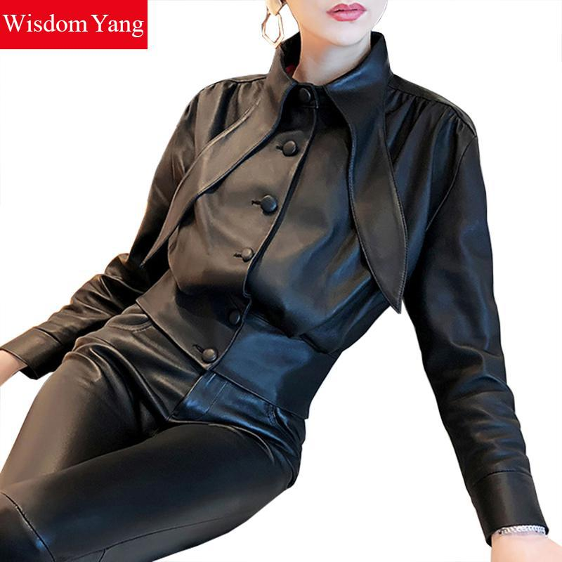 Winter Sheepskin Genuine Leather Tops Women Coat Motorcycle Vintage Jackets Ladies Black Coats Female Korean Overcoat Outerwear
