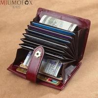 genuine leather credit card money clip mini female purse money pocket bag cash holder women card holder with change pouch wallet