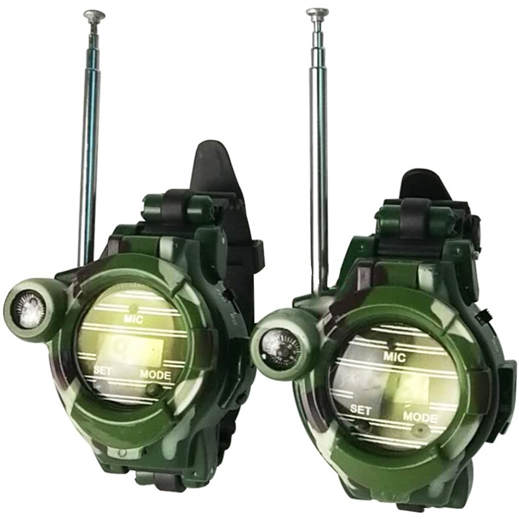2pcs Walkie Talkies Watches Toys for Kids 7 in 1 Camouflage 2 Way Radios Mini Walky Talky Interphone